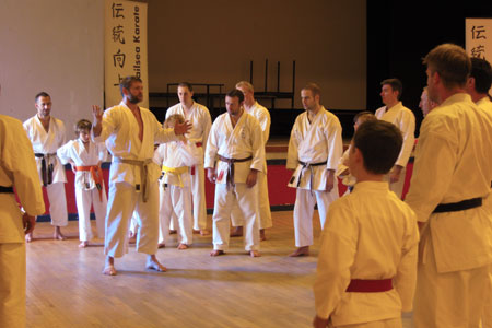 Sensei Price explaining one of many drills at Scotch Horn Leisure Centre, Nailsea