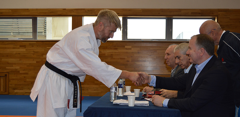 Sensei Devon after passing 3rd dan. Photo courtesy of the Karate Union of Great Britain